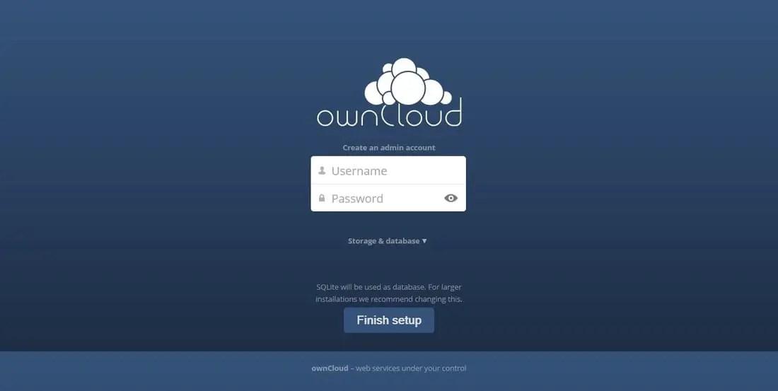 owncloud login interface