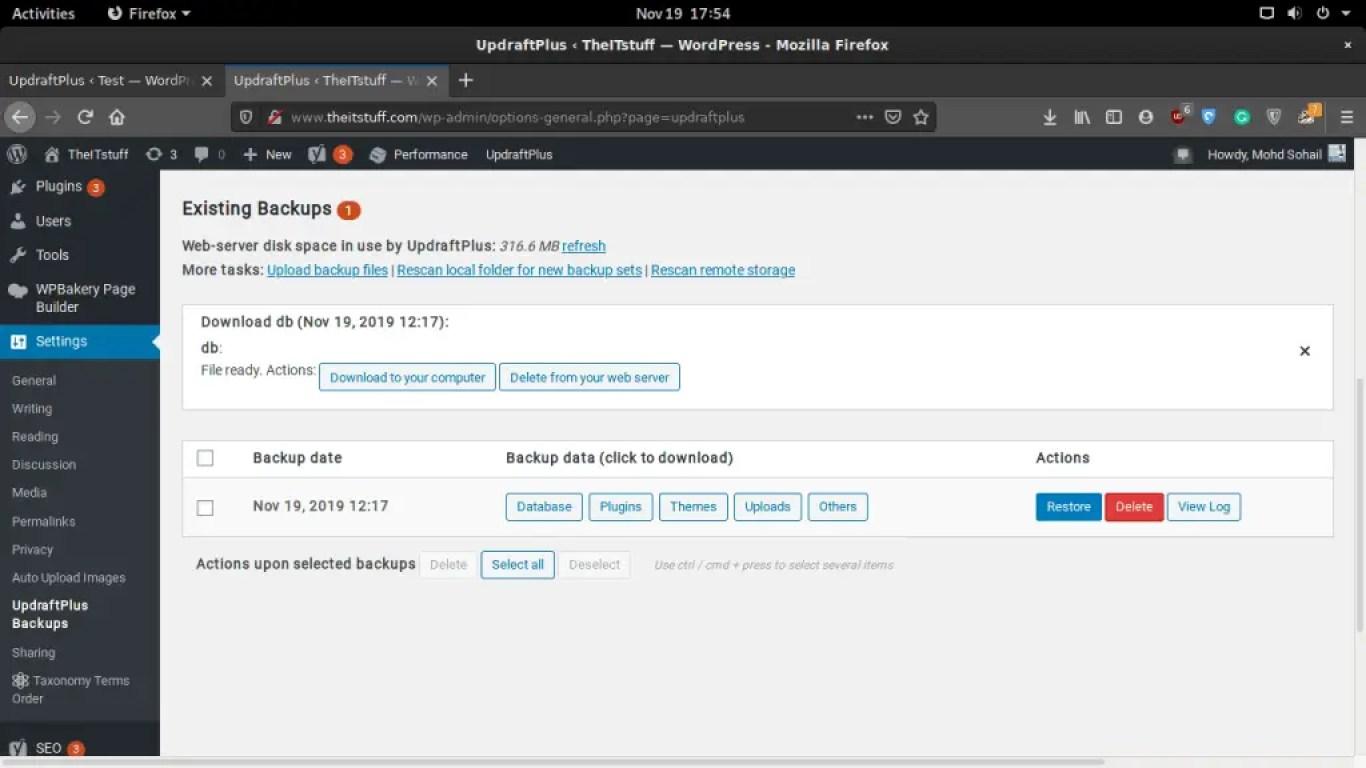 Updraft download backups