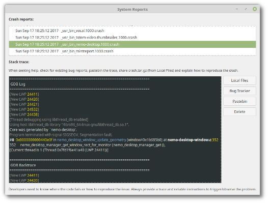 crash report tool in linux mint