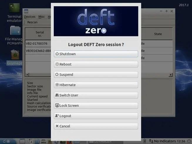 deft linux shutdown menu