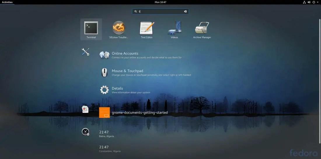 fedora 26 gnome applications menu