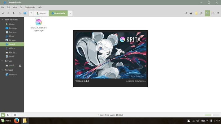 krita is loading in linux mint