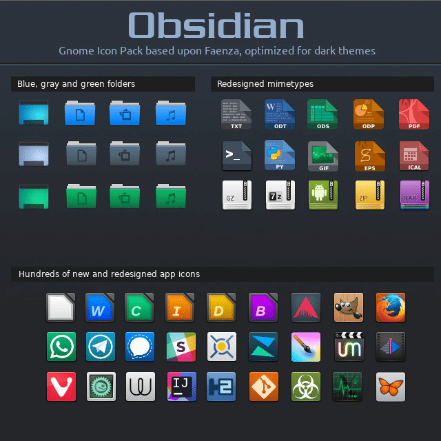 obsidian icon theme for linux