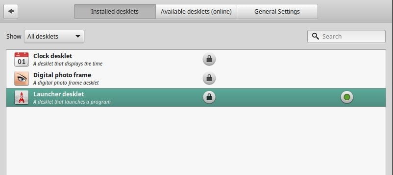 select desktop to appear them on linux mint desktop