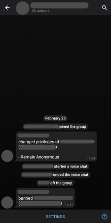 سجل إجراءات المسؤولين في تلجرام