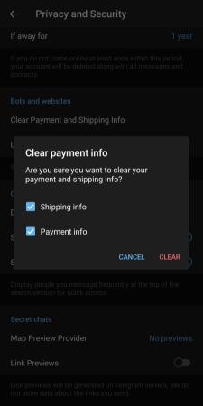حذف بيانات الدفع في تلجرام