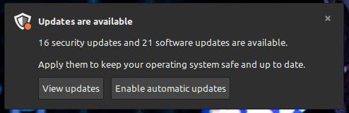 إشعار التحديث في Linux Mint