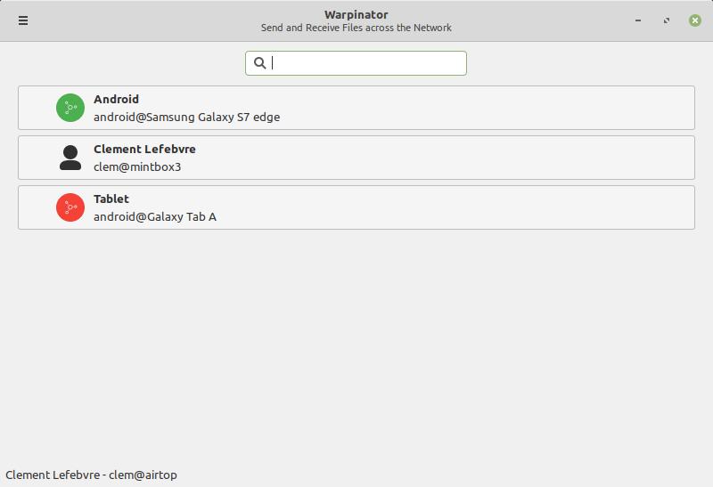 تطبيق Warpinator لمشاركة الملفات
