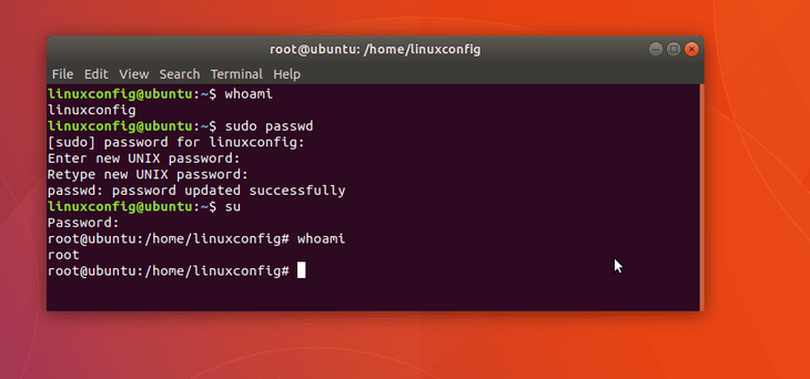 imposta la password di root su Ubuntu 18.04 Bionic Beaver Linux