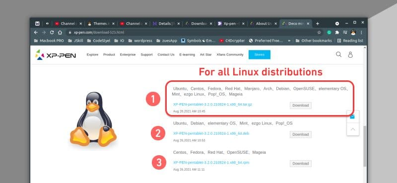 downloading xp-pen drivers for Linux distributions
