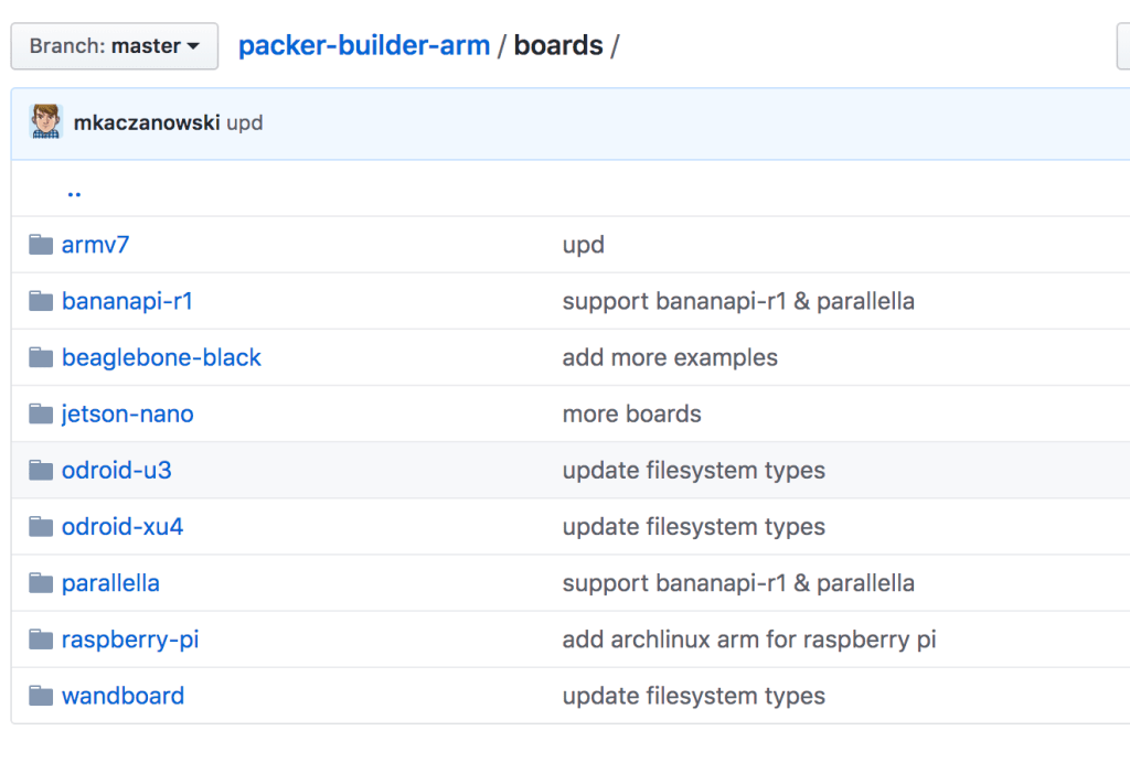 packer-builder-arm github screenshot of boards directory