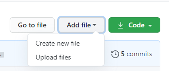 "Green ""add button"" file on a Gtihub repository page."