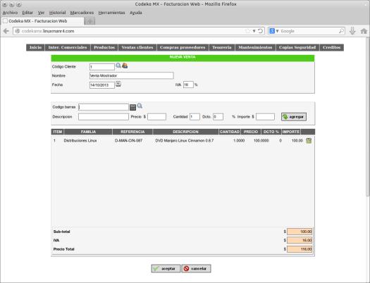 Codeka MX - Facturacion Web - Venta de mostrador