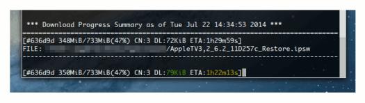 aria2 descargando el archivo de Apple