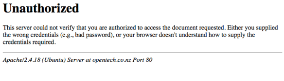 Unauthorised htaccess page