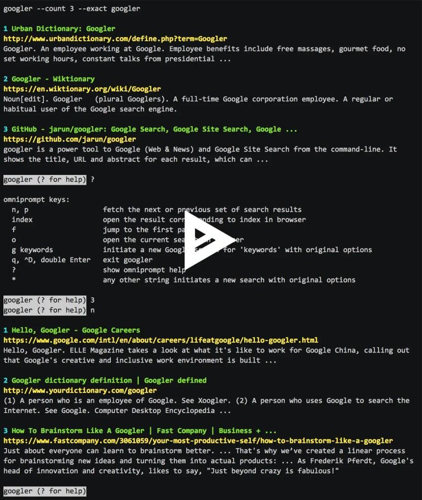 googler runs google queries from the command line