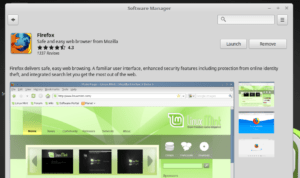 gnome-software on linux mint. Searching 'firefox' which is already installed. Click Remove to uninstall the software