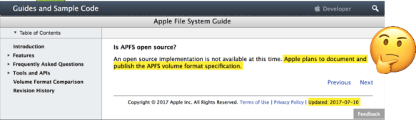 apfs documentation isn't coming any time soon.
