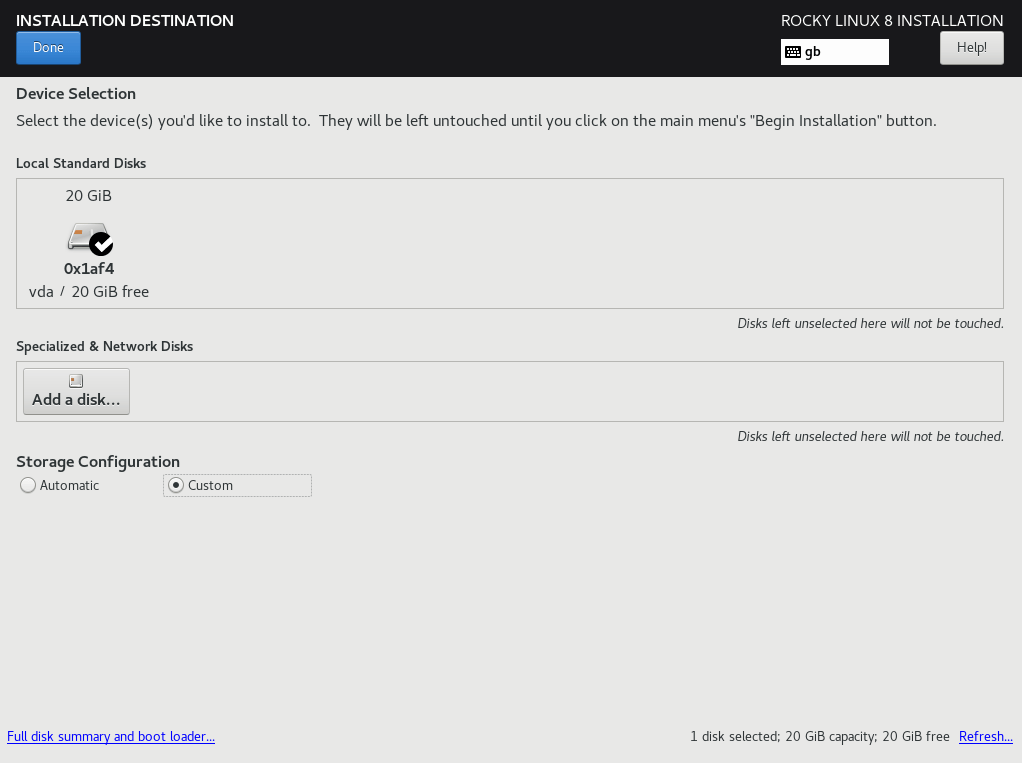 Rocky Linux Installation Destination