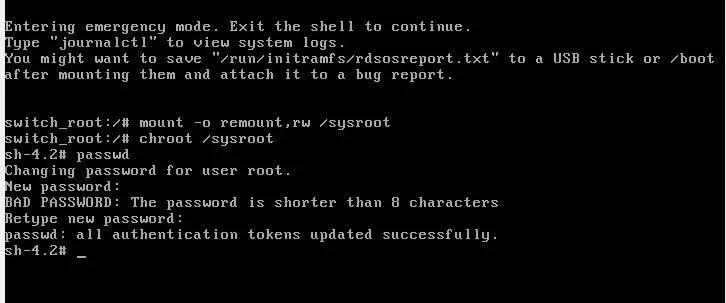 resetting root password