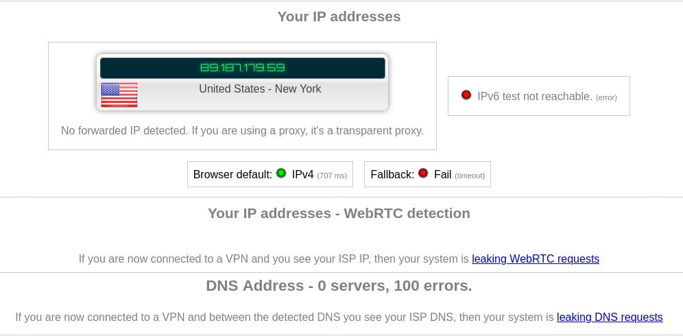 Результат успешного прохождения теста на утечки IPv6, DNS и WebRTC при использовании VPN
