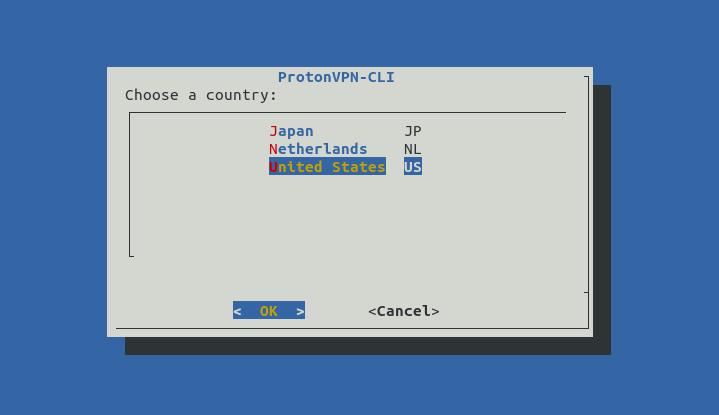 Выбор страны в конфигураторе protonvpn