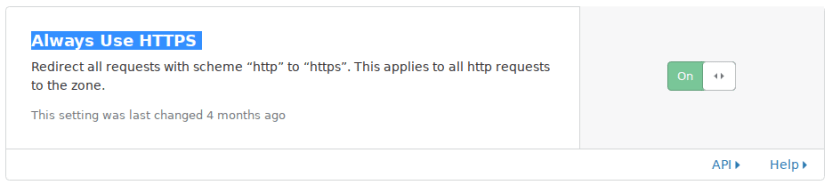 Cloudflare's Always Use HTTPS option