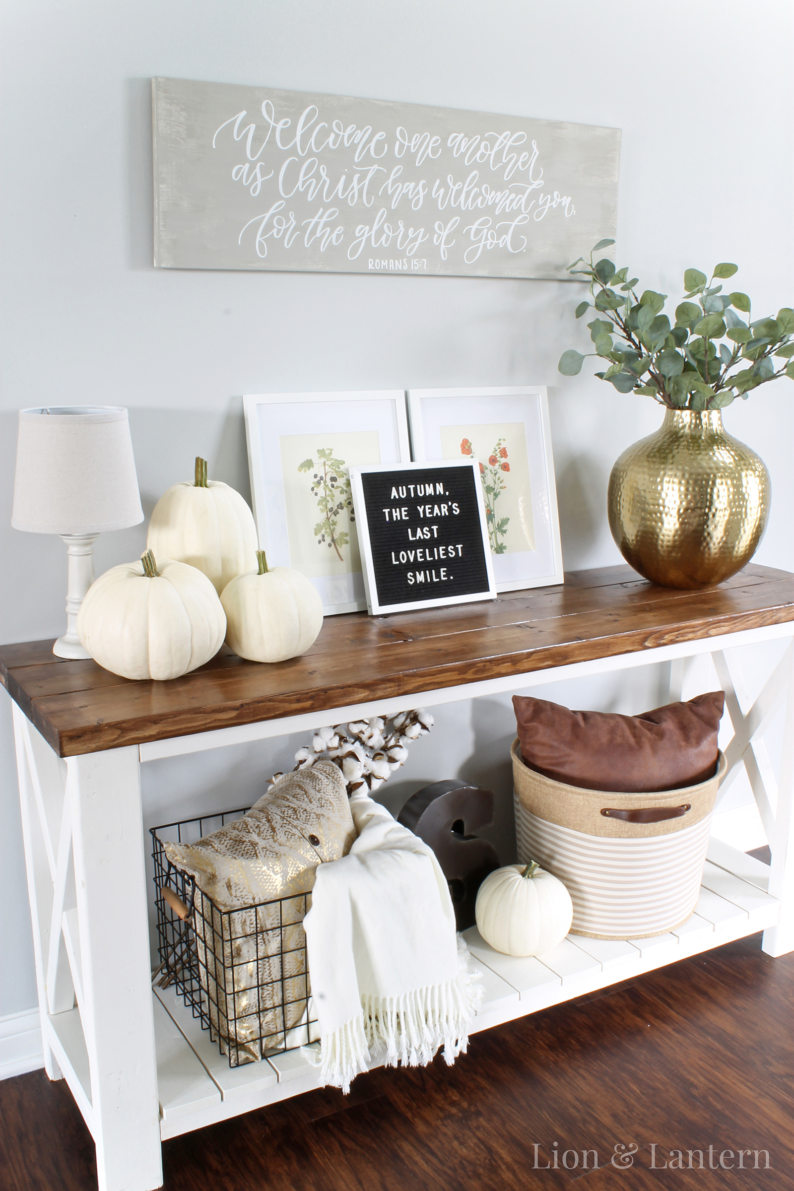 fall kitchen curtains white table set simple entryway decor lion and lantern