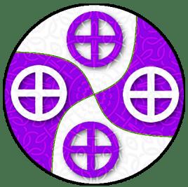 Per saltire arrondi argent and purpure, in cross four Norse sun crosses counterchanged Per saltire arrondi argent and purpure, four Norse sun crosses counterchanged