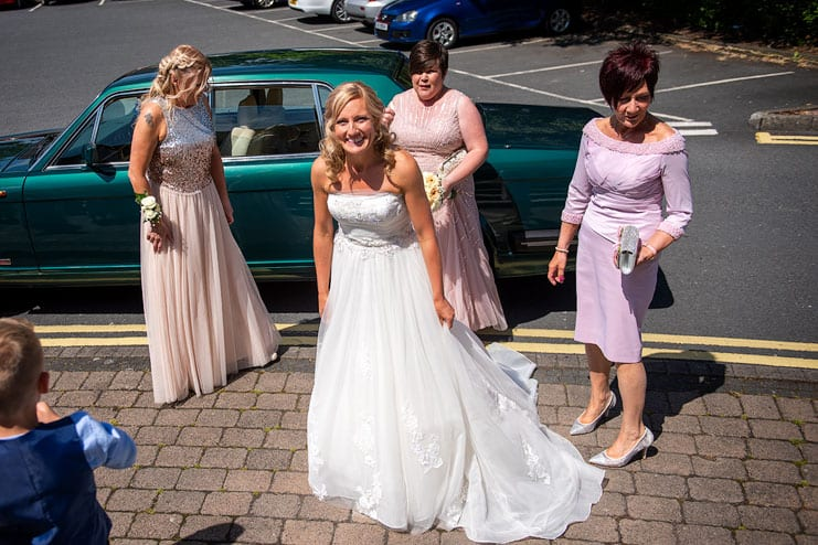 bride arrives at venue