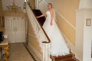 bride portrait on stairs