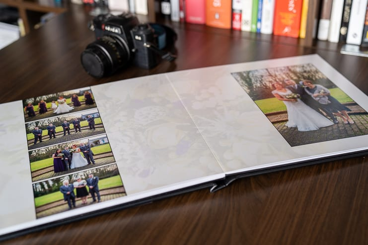 photo story book open at group portrait pages