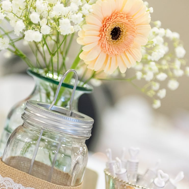 yellow table flowers in vase