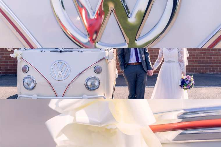 outdoor wedding styling collage vw camper
