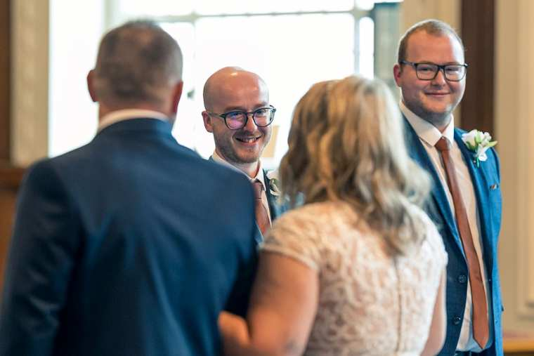 bride and grooms eyes meet for first time in ceremony