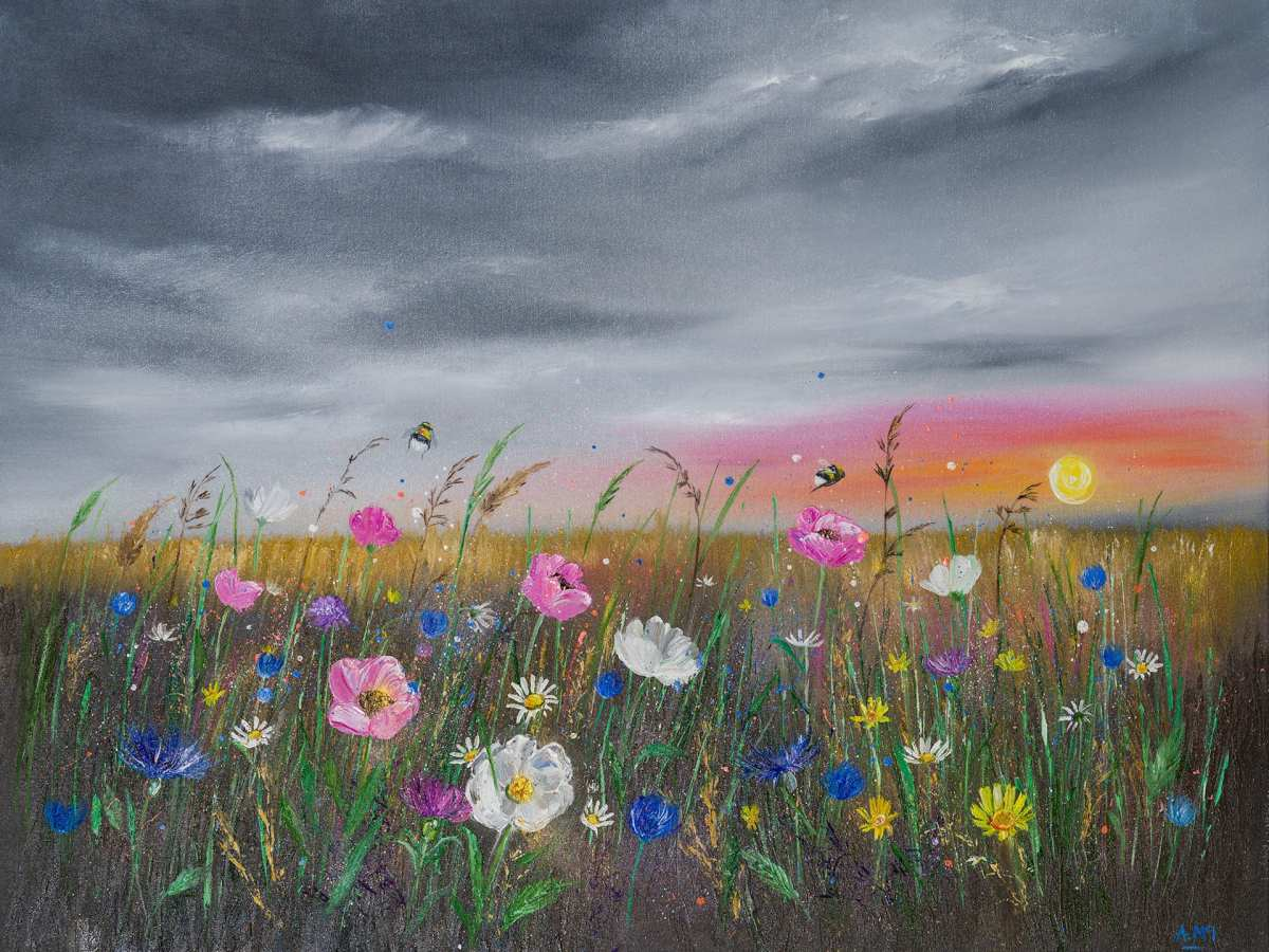artwork photography wildflower meadow at sunset with a heavy sky