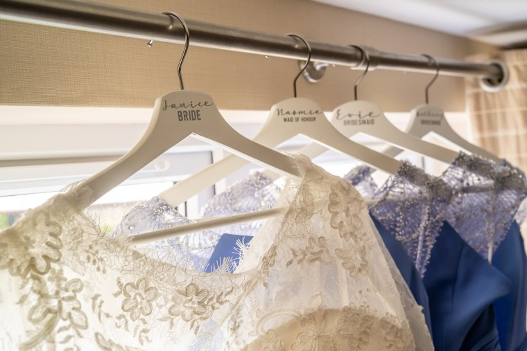 bridal party dress on personalised hangers