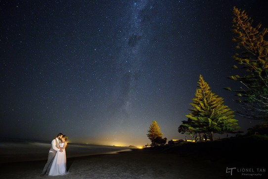 auckland wedding bride and groom milky way waihi beach
