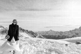 bridal portrait on snow mountain