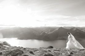 beautiful portrait of a bride in her dress walking