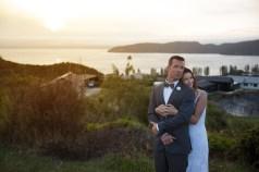 auckland wedding bride and groom portrait sunset