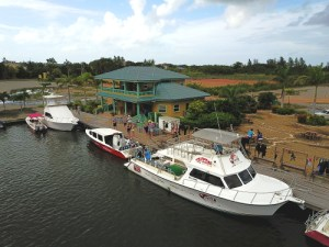 Loading up the dive boats for a day of lionfish hunting with Splash Belize