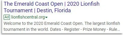 The Emerald Coast Open Google Ad