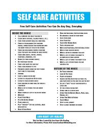 Self Care Worksheets. Worksheets. Ratchasima Printable