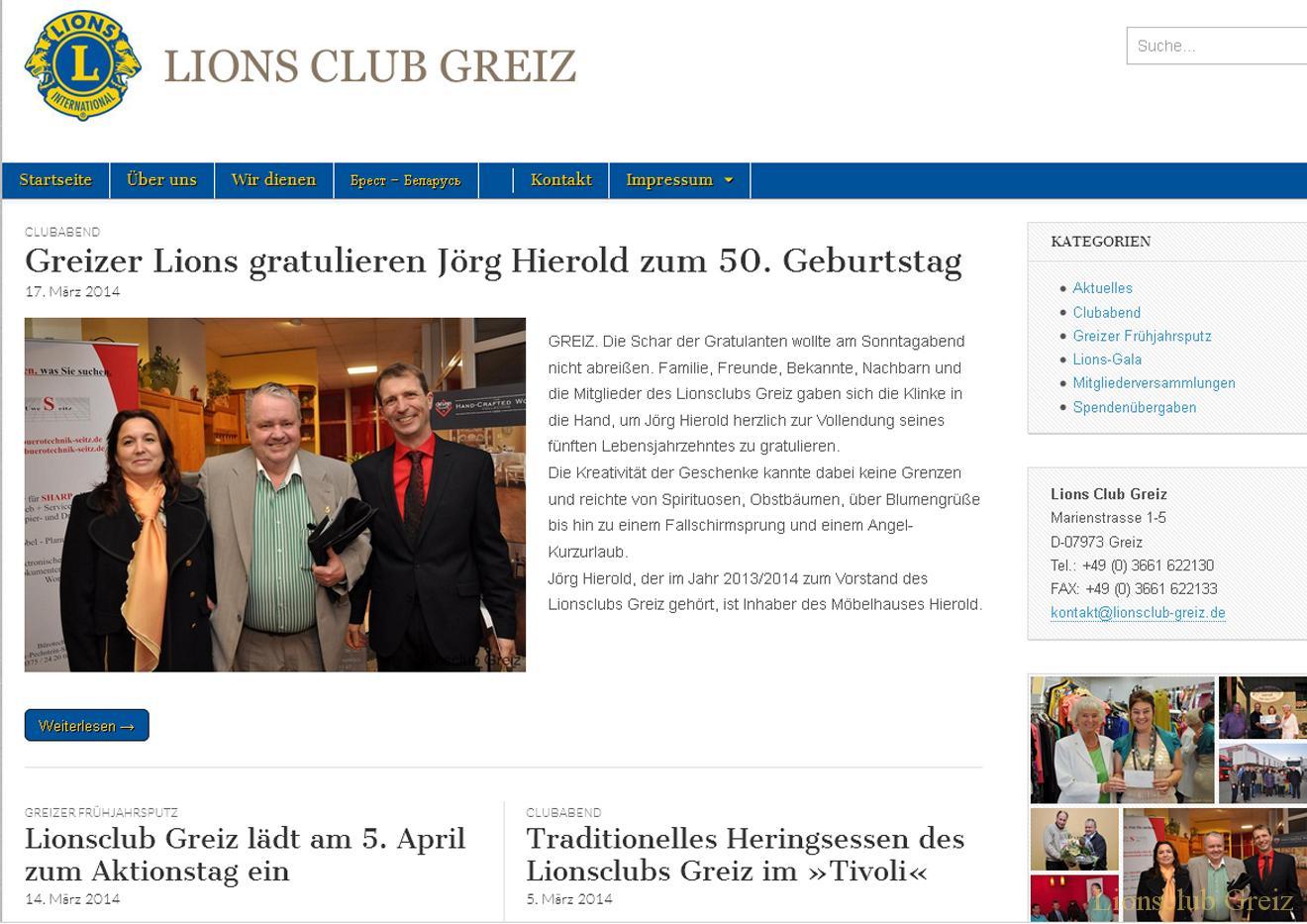 Neue Webseite Lionsclub Greiz