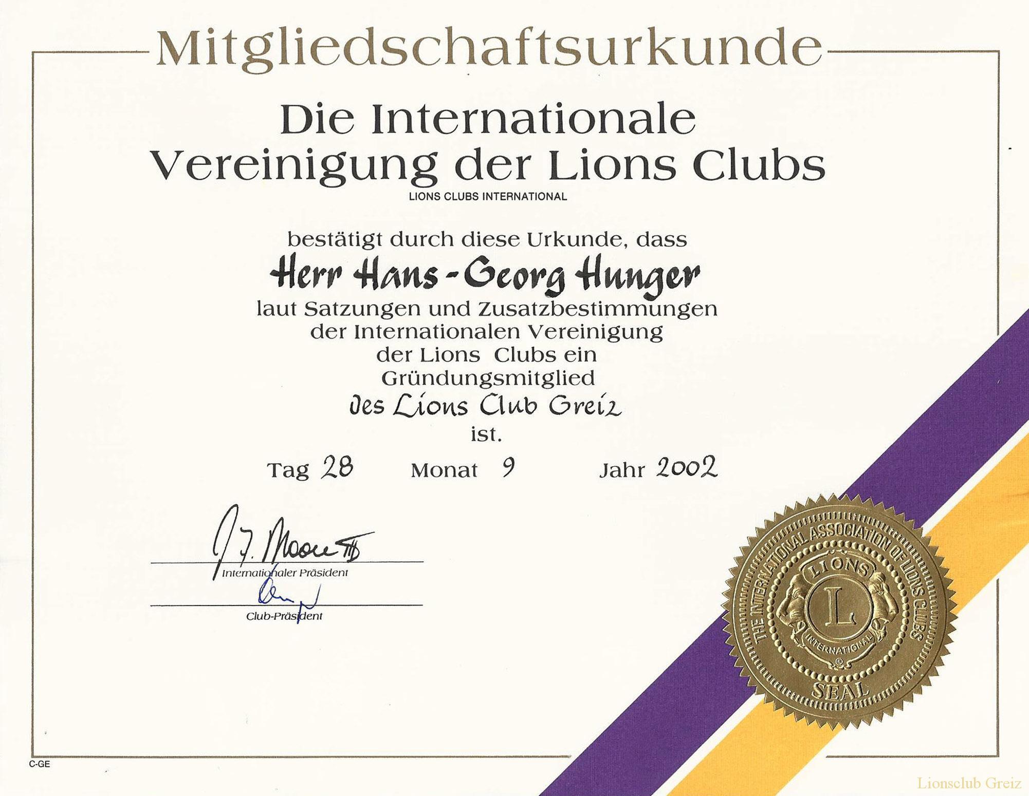Urkunde zur Mitgliedschaft im Lionsclub