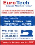 Ad: Euro Tech Sewing Machine Repair