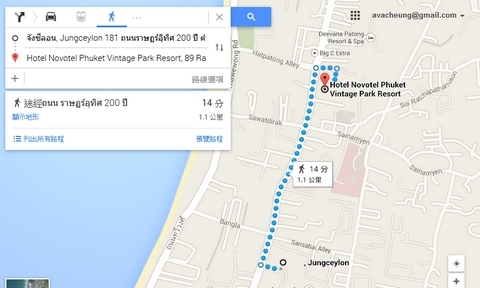 hotel to jungcelon distance