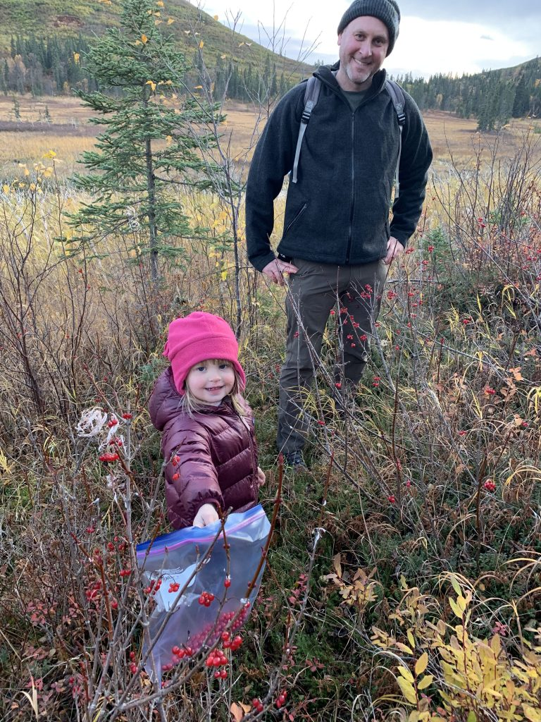 Ayla picking berries