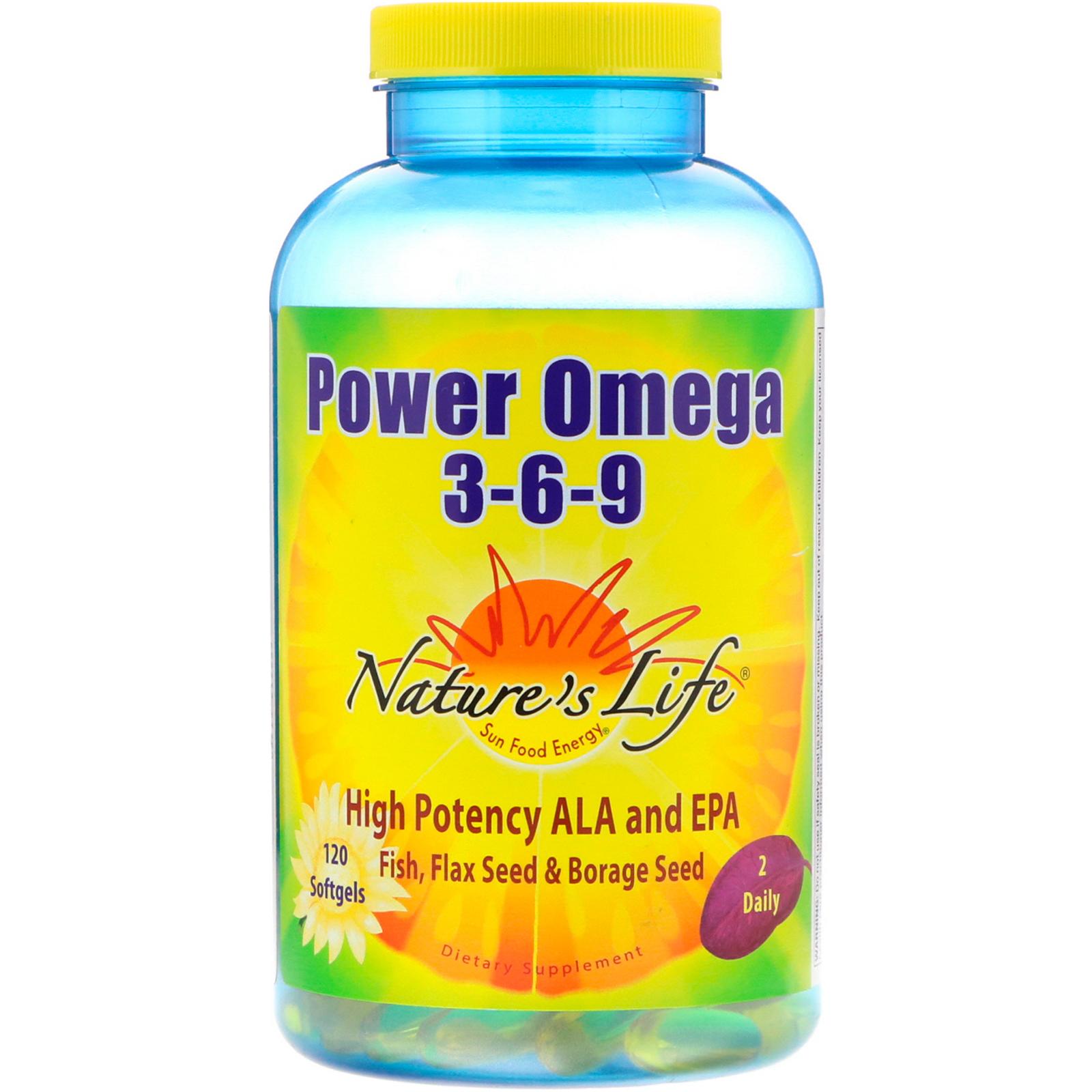 Nature S Life Power Omega 3 6 9 120 Softgels Lipo Natural